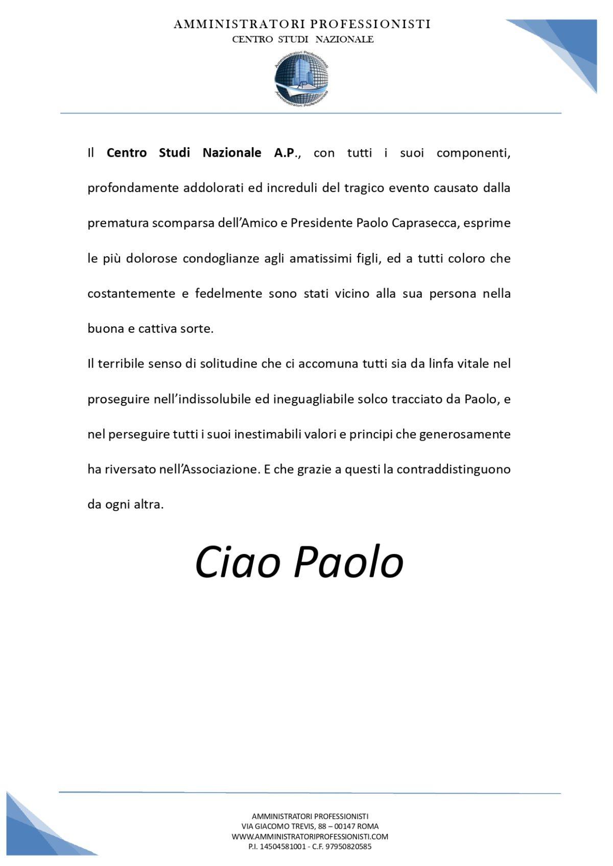 ciao Paolo…