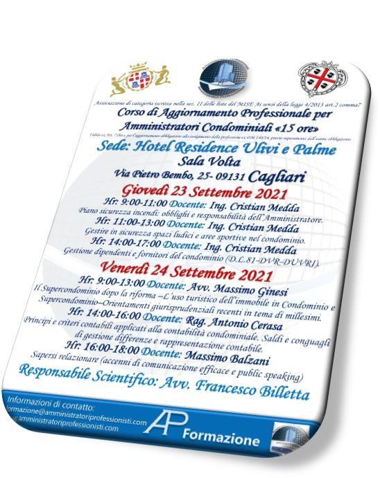 corso di aggiornamento Cagliari – 23/24 settembre 2021